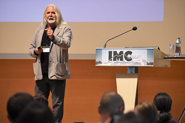 Professor Mark Aldenderfer delivered a keynote address at the International Mountain Conference last month. Photo courtesy of the Mountain Research Initiative.