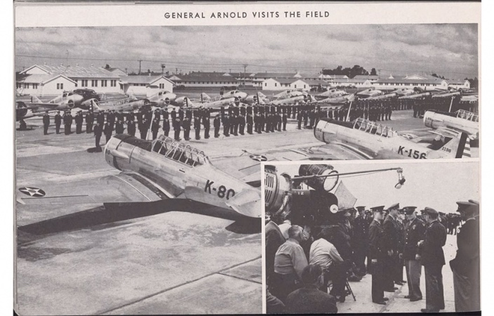 Black-and-white news clipping of the former air force base.