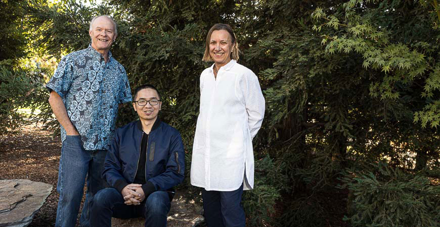 Professor Stephen Hart, left, Professor Martha Conklin, right, and researcher Jian Lin, seated.