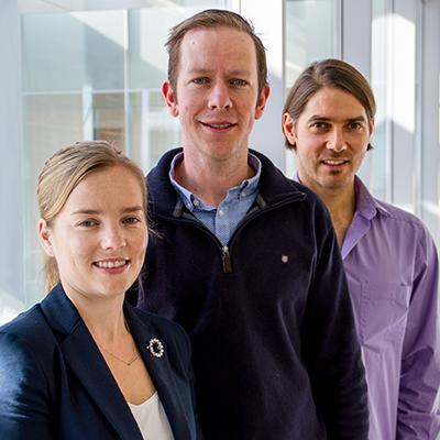 From left, researchers Jessamy Tiffen, Stuart J. Gallagher and Fabian Filipp