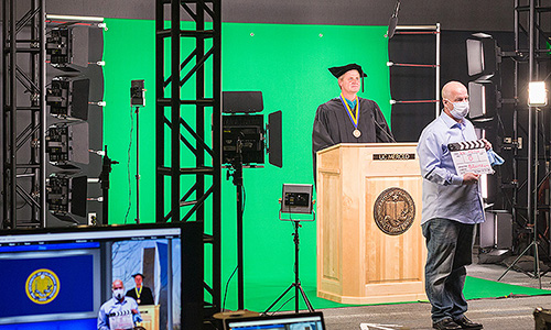 Saturday's commencement ceremony was pre-recorded using green-screen technology.