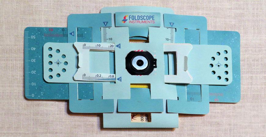 Foldscope, flat paper microscope