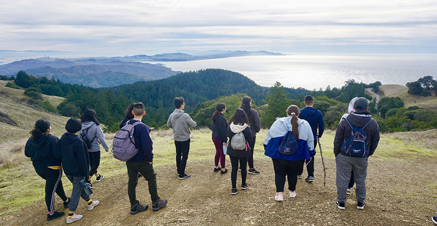 UC Merced students in the Leadership & Service Living Learning Community take in the view from atop Mount Tamalpais.