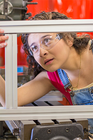 Marisol Prada at UC Merced machine shop
