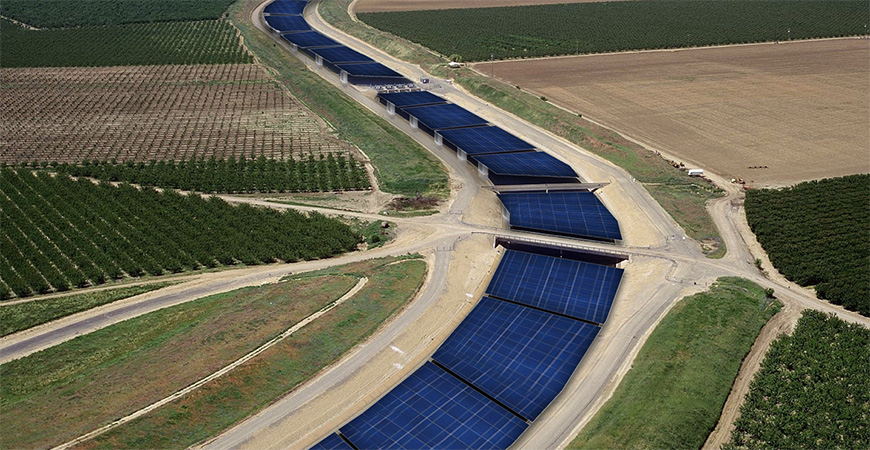 Covering California's canals in solar panels could save 63 billion gallons of water annually, which is comparable to the amount needed to irrigate 50,000 acres of farmland.