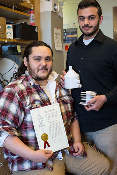 Michael Urner, left, and Paul Barghouth received a U.S. patent for their medical device for premature infants.