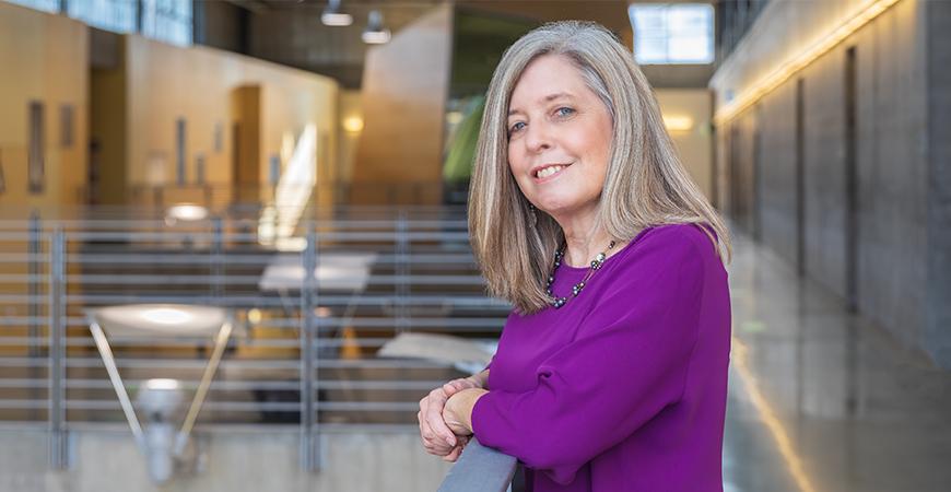 Psychology Professor Debora Wiebe in the Social Sciences and Management Building.
