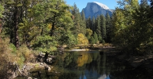 A view of Half Dome from the Merced River in Yosemite National Park